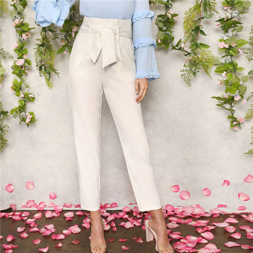 Bow Belted White Office Pants - TheMacLyfAus Leggings