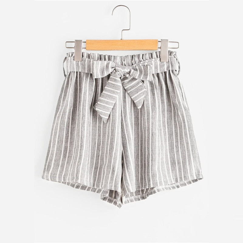 Grey Striped Bow Shorts