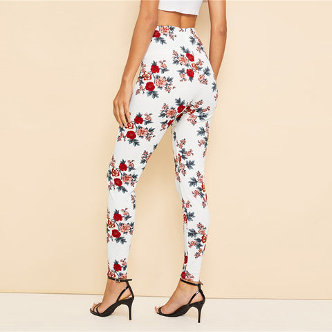 White High Waist Floral Leggings