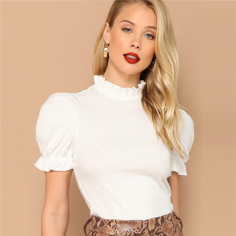 Elegant Frill Neck Puff Sleeve Top - TheMacLyfAus Leggings