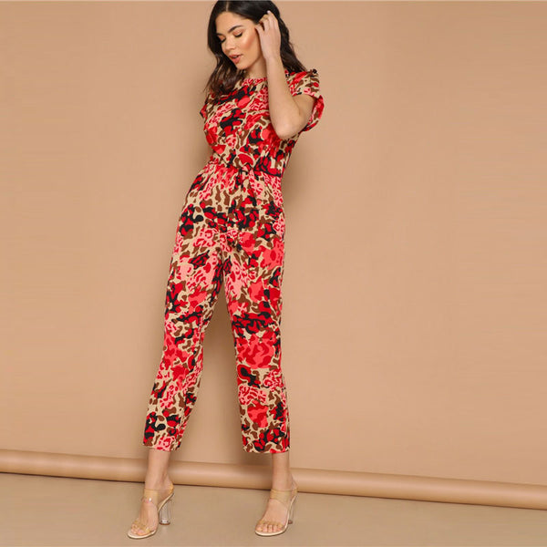 Highstreet Rolled Sleeve Leopard Print Jumpsuit - TheMacLyfAus Leggings
