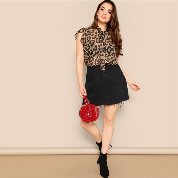 Plus Size - Sleeveless Leopard Top - TheMacLyfAus Leggings