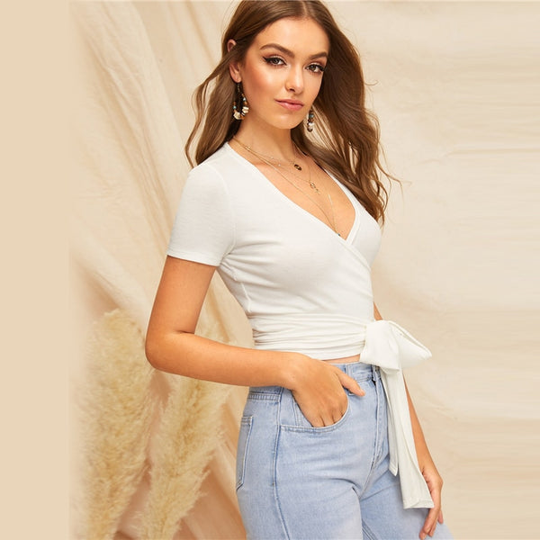 Belted White V Neck Top - TheMacLyfAus Leggings