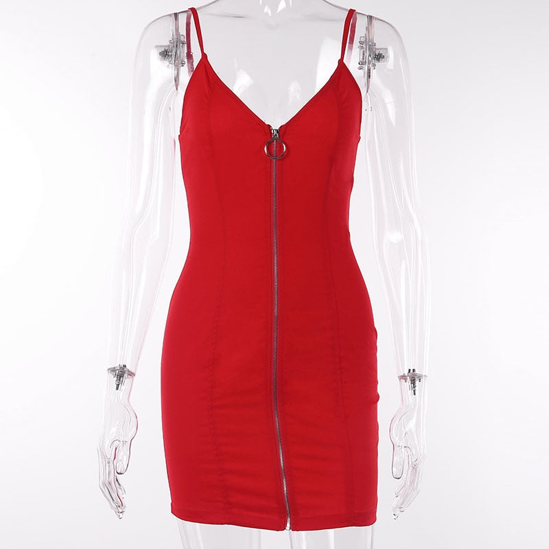 Red Chilli Front Zip Dress - TheMacLyfAus Leggings