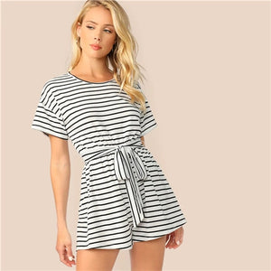 Wide Leg Striped Playsuit - TheMacLyfAus Leggings