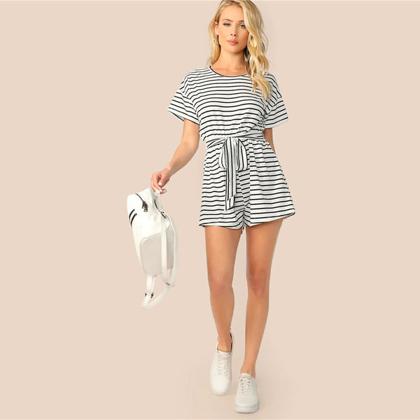 Wide Leg Striped Playsuit