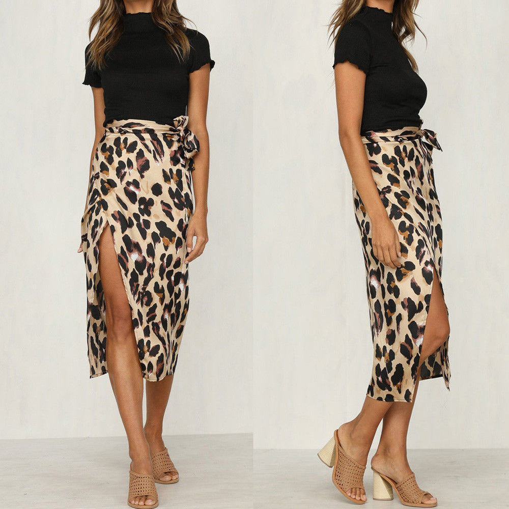 Leopard Print Cut Skirt - TheMacLyfAus Leggings