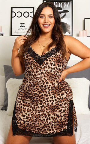 Plus Size - Lace Leopard Night Dress - TheMacLyfAus Leggings