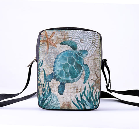 Women Crossbody Bag With Marine Life Print