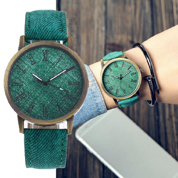 Leather Strap Denim Designer Watch For Woman