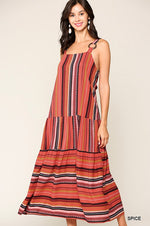 Multi Striped Sleeveless Midi Dress - HeartsEase Clothing