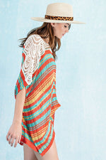 Colorful Stripes Crochet Knit Tunic - HeartsEase Clothing