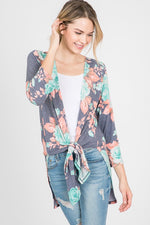 Floral Kimono Cardigan - Mint - HeartsEase Clothing