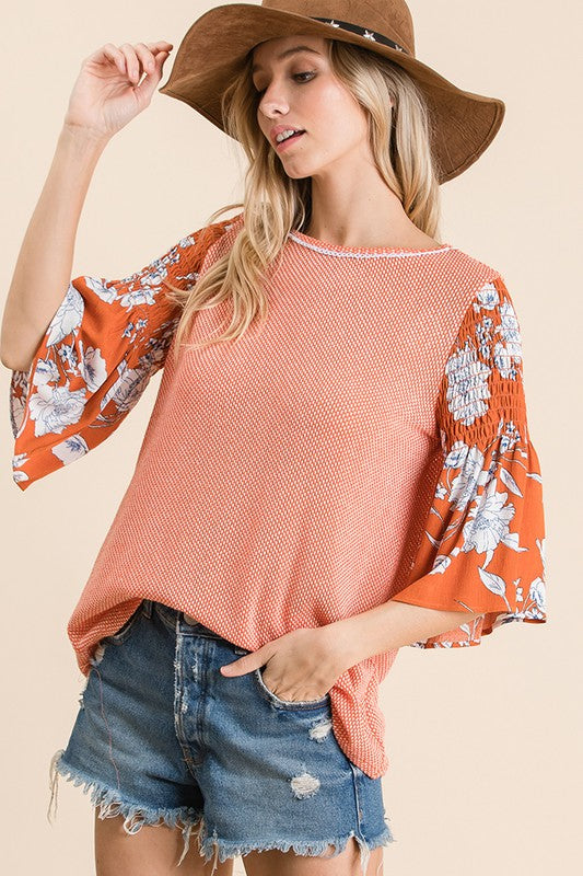 Floral Print Ruffle Top - HeartsEase Clothing