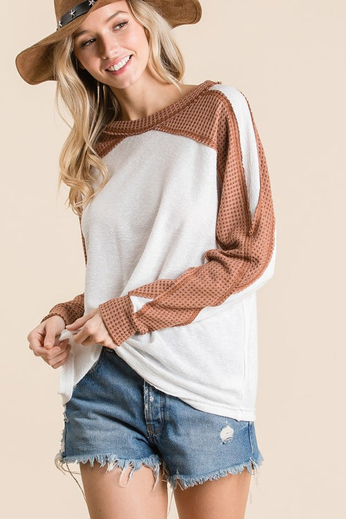 Waffle Knit Fabric Top - HeartsEase Clothing