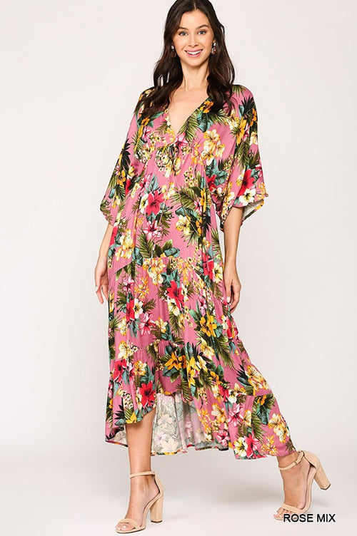 Tropical Print Maxi Dress - Rose Mix - HeartsEase Clothing