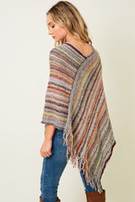 Multi Color Poncho Sweater - HeartsEase Clothing