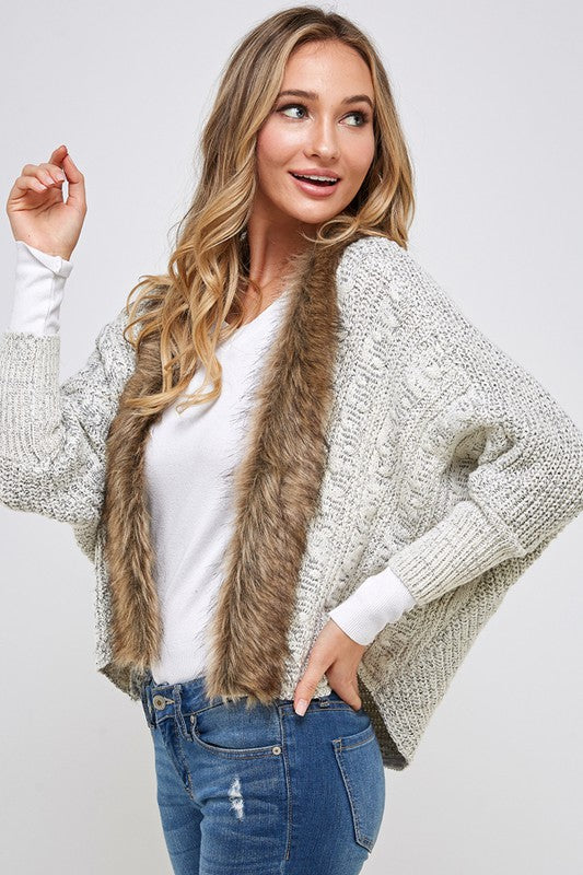 ONE LEFT Cardigan Sweater with Faux Fur Trim - HeartsEase Clothing