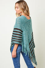 Poncho Sweater with Brown Stripe Bottom - HeartsEase Clothing