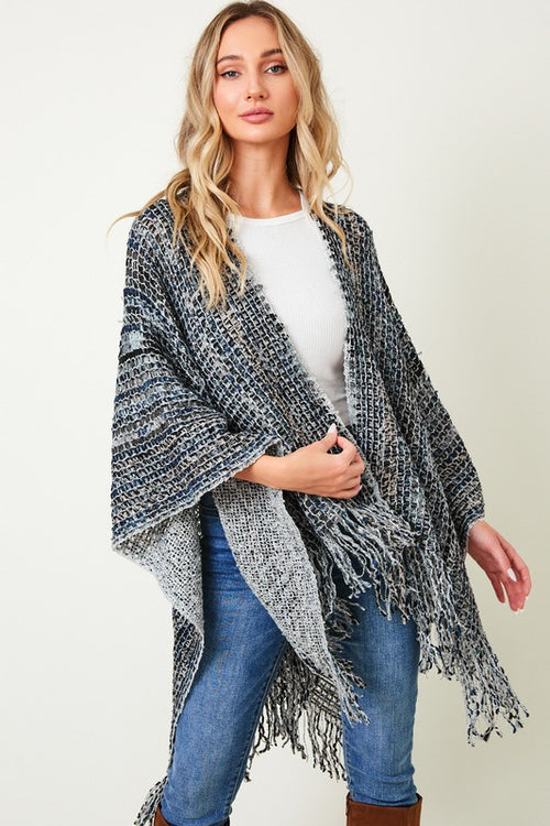 Multi Stripe Shawl Wrap Sweater - HeartsEase Clothing