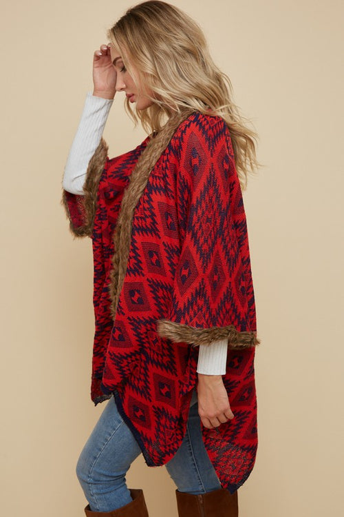 Kimono Cardigan with Aztec Pattern - Red/Navy - HeartsEase Clothing