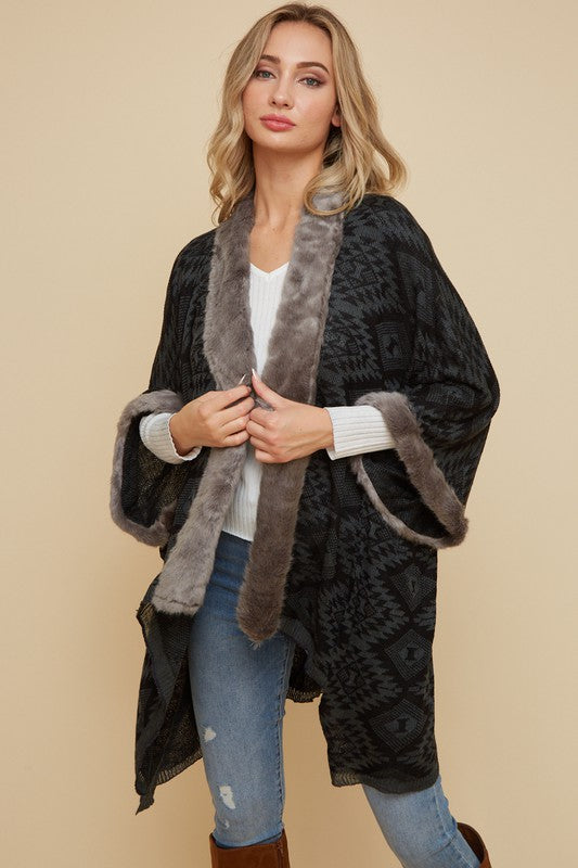 Kimono Cardigan with Aztec Pattern - Grey/Black - HeartsEase Clothing