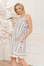 Vertical Striped Sleeveless Dress - HeartsEase Clothing