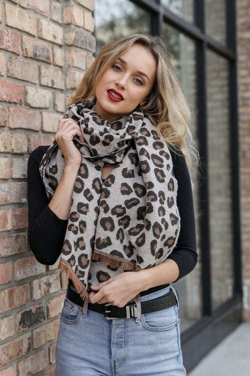 Leopard Print Woven Scarf - HeartsEase Clothing