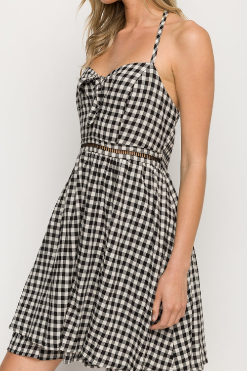 Halter Neck Gingham Dress - HeartsEase Clothing