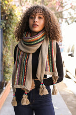 Bohemian Knit Braided Tassel Bead Scarf - Khaki - HeartsEase Clothing