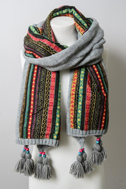 Bohemian Knit Braided Tassel Bead Scarf on mannequin