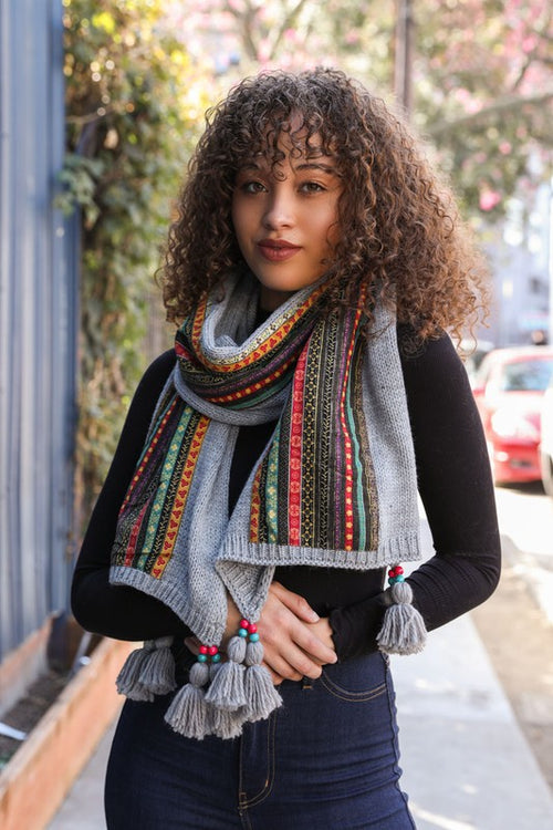 Woman wearing Bohemian Knit Braided Tassel Bead Scarf