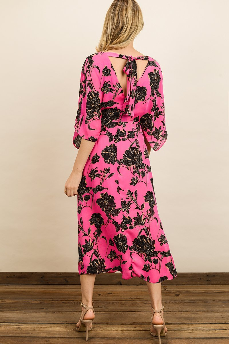 Fuchsia Floral Midi Dress - HeartsEase Clothing