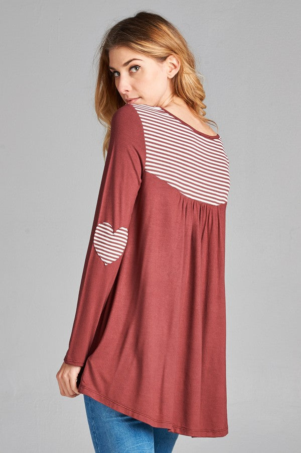 Heart Elbow Patch Jersey Top - HeartsEase Clothing