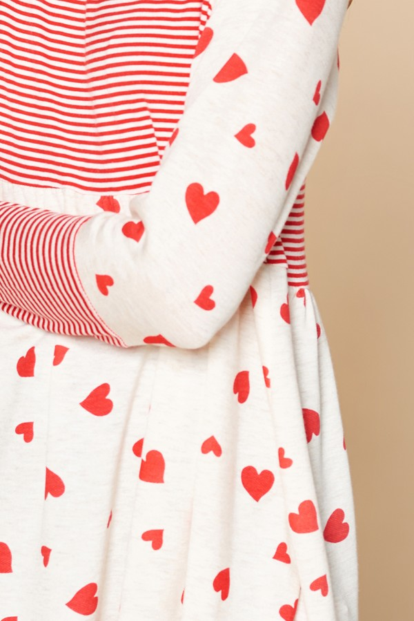 Printed Hearts French Terry Top - HeartsEase Clothing