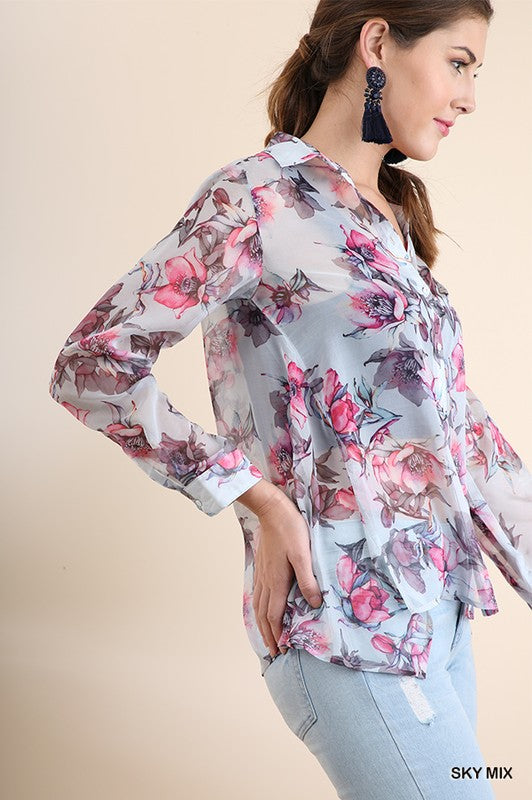 Sheer Button-Up Top - Sky - HeartsEase Clothing