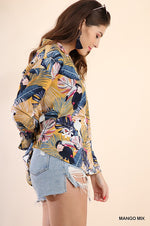 Tropical Print Button Up - Mango Mix - HeartsEase Clothing