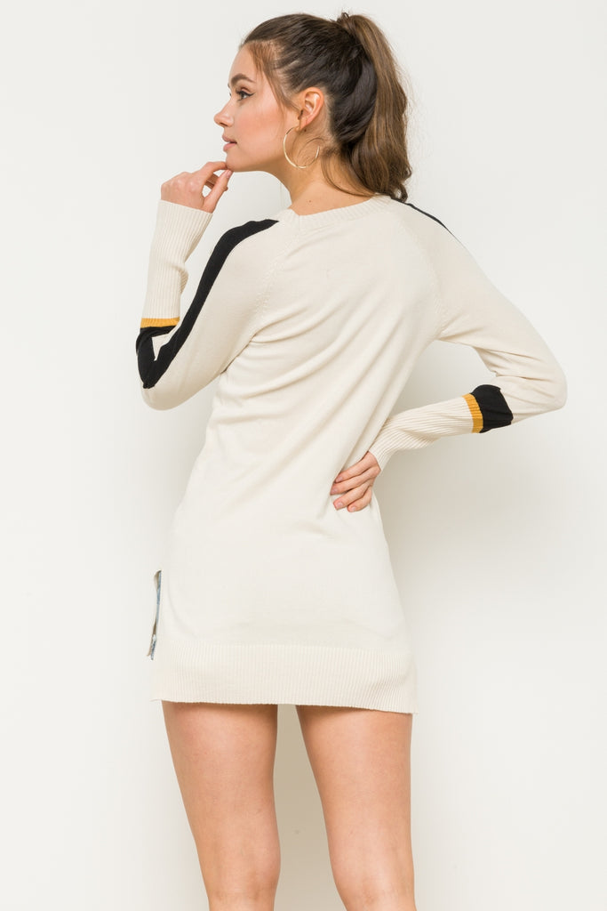 Skagit -Striped Rib Sleeve Tunic Sweater