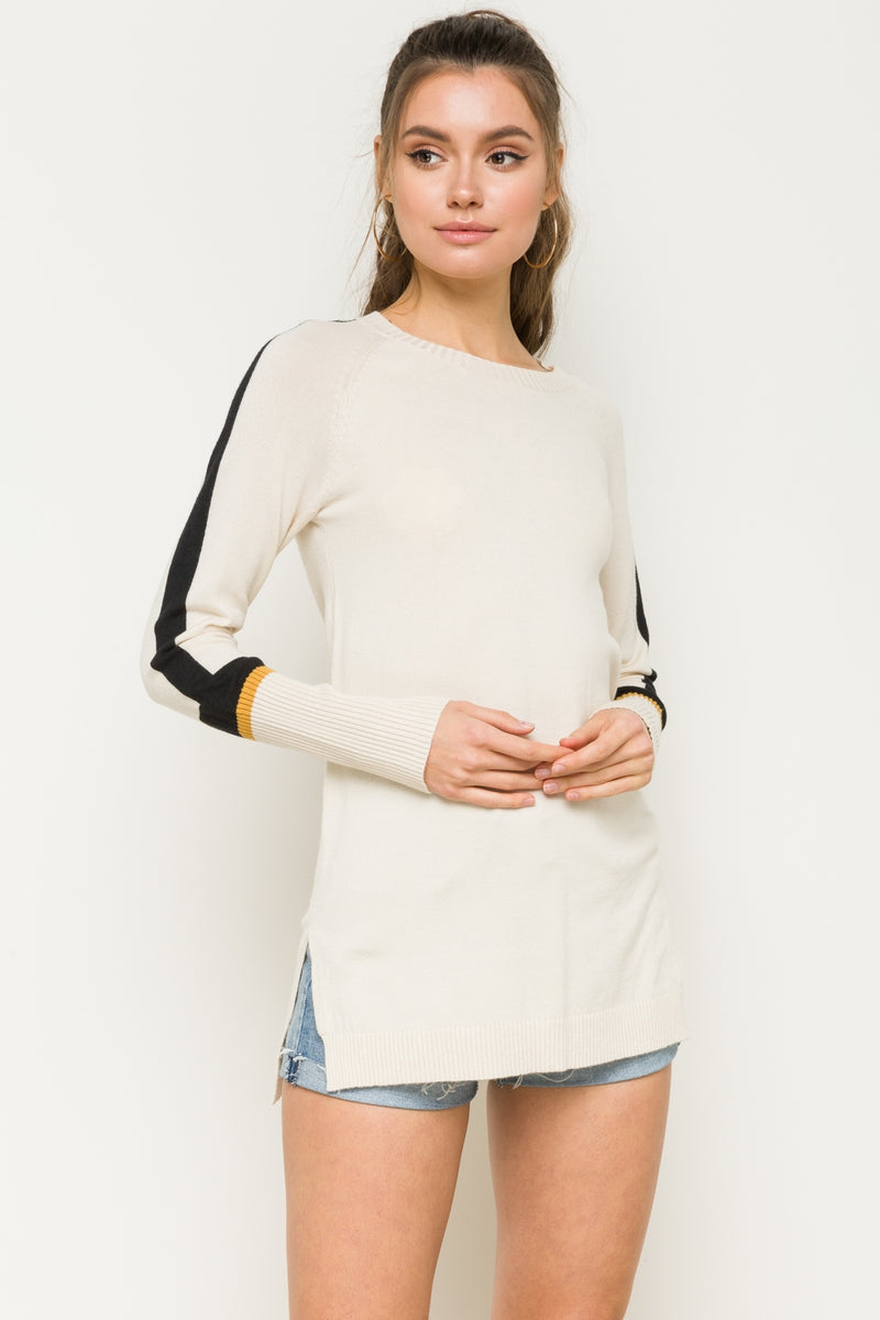 Striped Rib Sleeve Tunic Sweater - HeartsEase Clothing