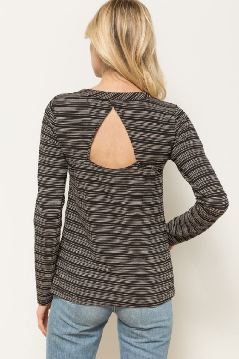 Open Back Long Sleeve Top - HeartsEase Clothing