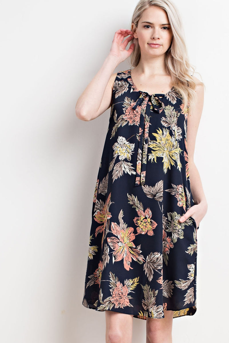 Floral Tie Front Sleeveless Dress - HeartsEase Clothing