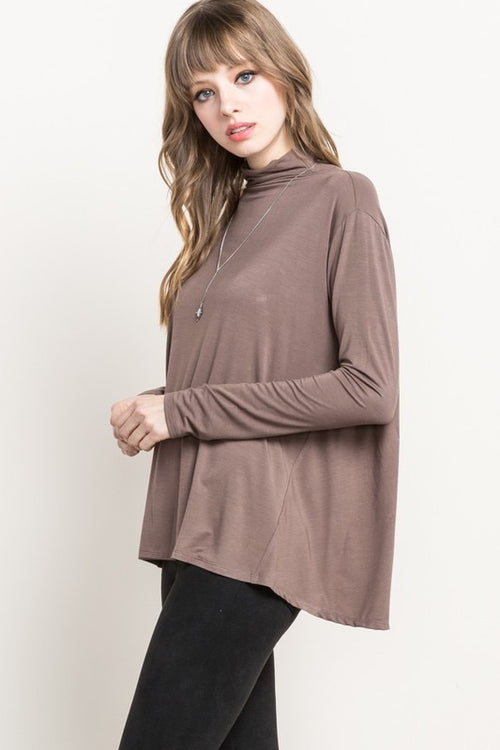 Bamboo Mock Neck Top - Coco - HeartsEase Clothing