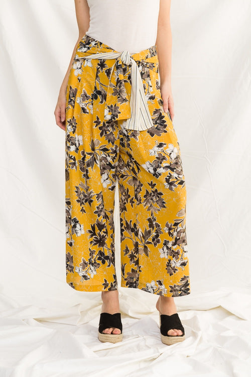 Wide Leg Printed Floral Pants
