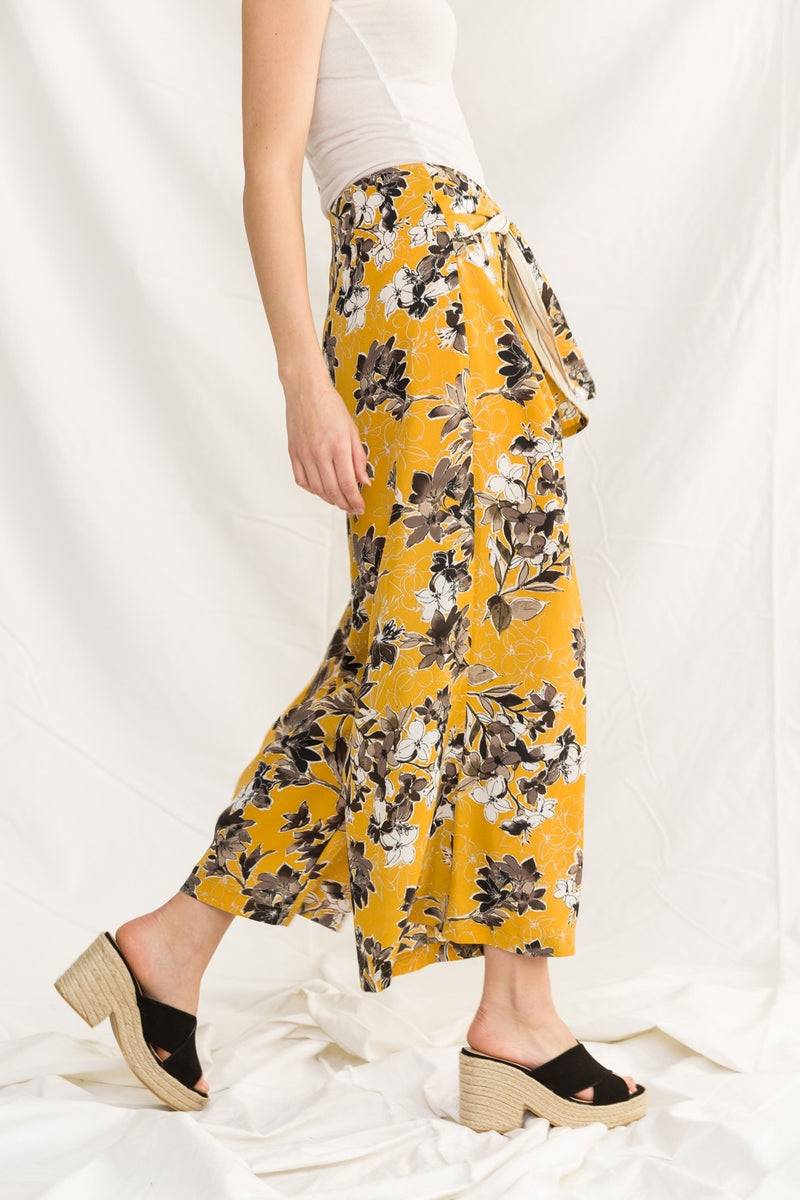 Wide Leg Printed Floral Pants - HeartsEase Clothing