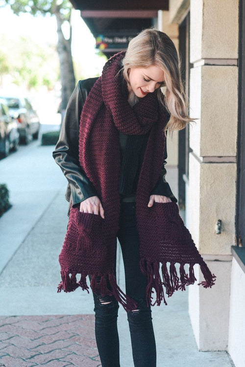 Oversized Two Pocket Tassel Scarf - Burgundy