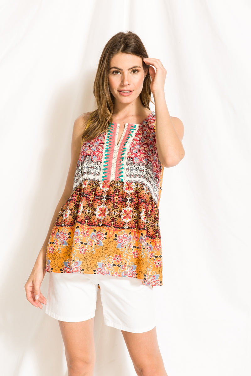 Printed Peplum Tank - HeartsEase Clothing