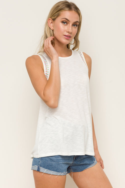 Embroidered Sleeveless Top - HeartsEase Clothing