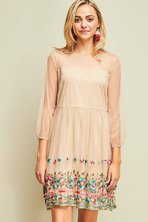 A-Line Dress with Hemline Details - Taupe - HeartsEase Clothing