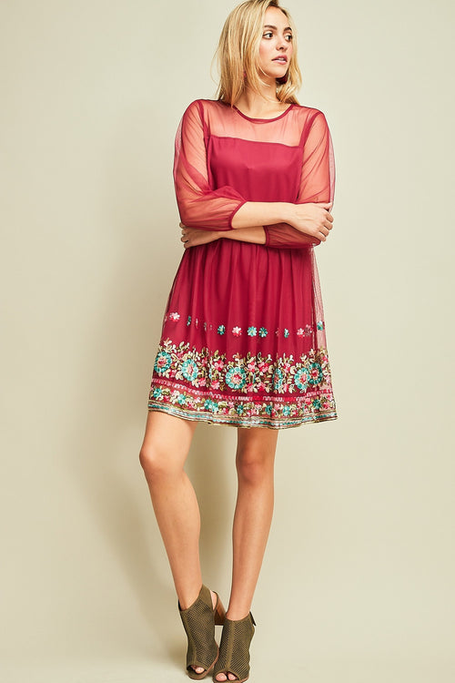 A-Line Dress with Hemline Details - Wine - HeartsEase Clothing