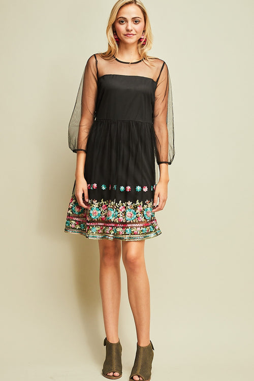 A-Line Dress with Hemline Details - Black - HeartsEase Clothing